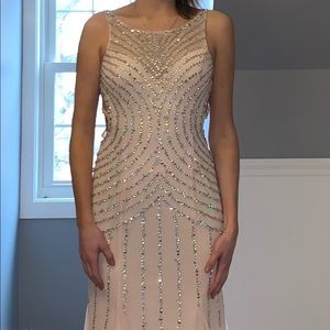 Light pink and sequence prom dress